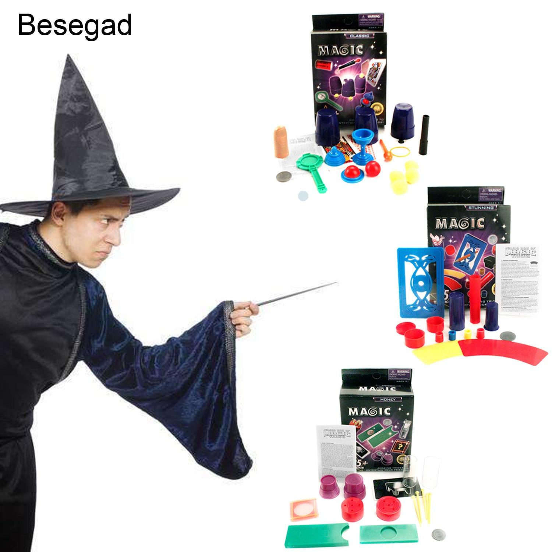 Besegad classique tour de magie jouets outils scène spectacle accessoires accessoires ensemble pour enfants cadeaux de noël attrayant tour de fête magie