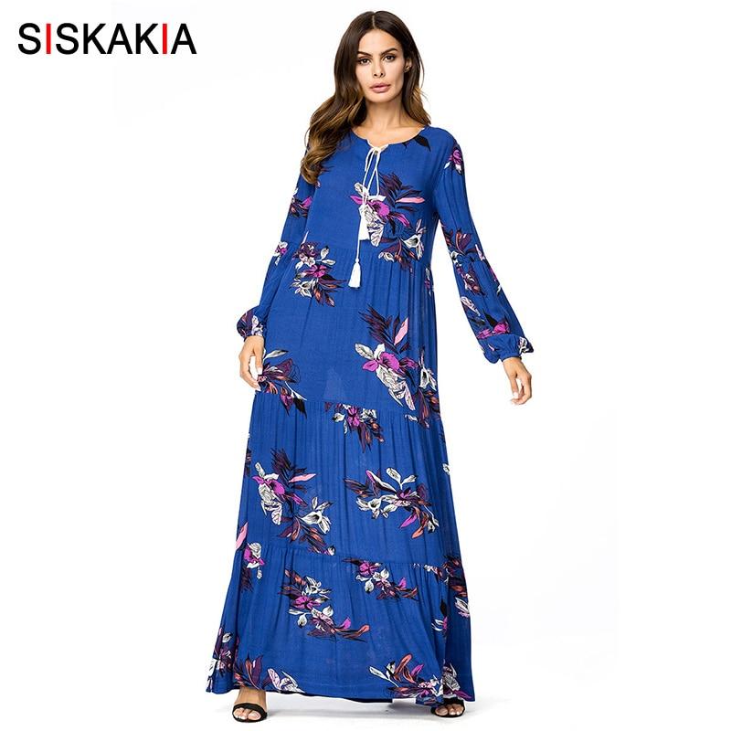 Siskakia elegant ladies Vintage print swing dress Plus size draped design maxi long dress Blue high