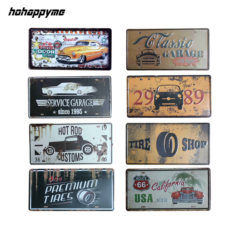 Garagem Retro Metal Signs Decoration Car Sign License Plate Decor Plaque Metal Decorative Vintage Pub Tin Signs Home Decor 15x30