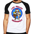 Brand Quality Breaking Bad LOS POLLOS HERMANOS t shirt Tees Distressed Walter White Heisenberg AMC TV Show T-shirt Tops For Men