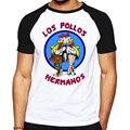 Qualidade da marca Breaking Bad LOS POLLOS HERMANOS camiseta Tees afligido Walter White Heisenberg AMC TV Show T-shirt Tops Para homens
