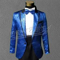 S 5XL!!! 2018 Black and white and red sapphire blue gold shiny suit jacket The host dress men Fashion costumes male singer