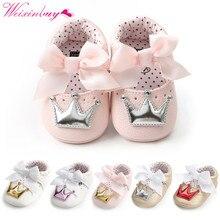 Baby Shoes Newborn PU Bow Cute Crown Non-slip Soft Bottom