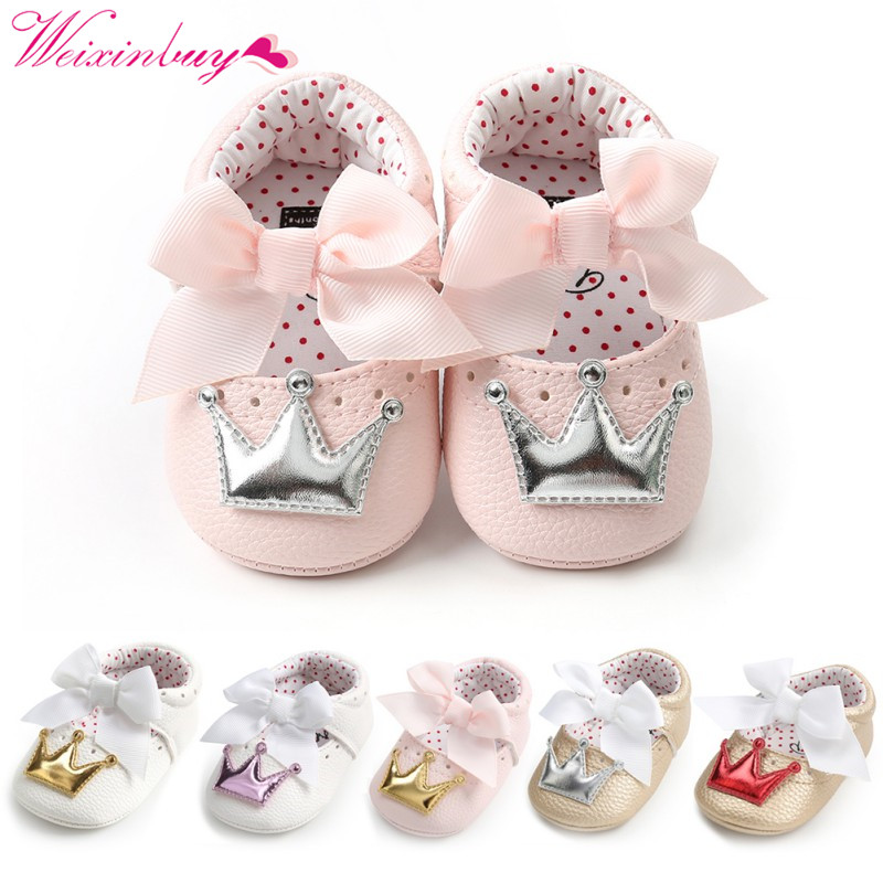 Baby Shoes Newborn PU Bow Cute Crown Non-slip Soft Bottom Baby Girl Shoes First Walker Fashion Princess Shoes