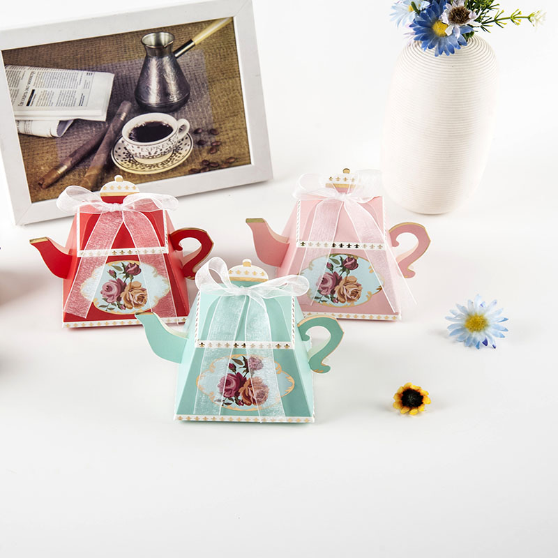 Flowers For Wedding Gift: 10pcs Pink Blue Red Teapot Shaped Wedding Candy Box Flower