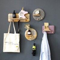 Nordic Style Creative Partition Shelf Wall Hanging Solid Wood Hook Mounted Hanging Shelf Rack Shelves Coat Hooks DIY Home Decor