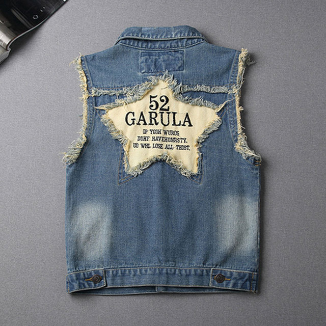 New summer Women's Letter Turn-down Collar Frayed Personalized Cardigans Lady Denim Hole Jean Vests Coats Student Vest