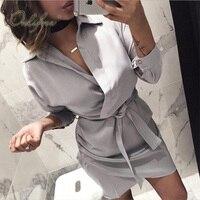 Ordifree 2019 Summer Autumn Women Satin Dress Long Sleeve Casual Silk Shirt Dress