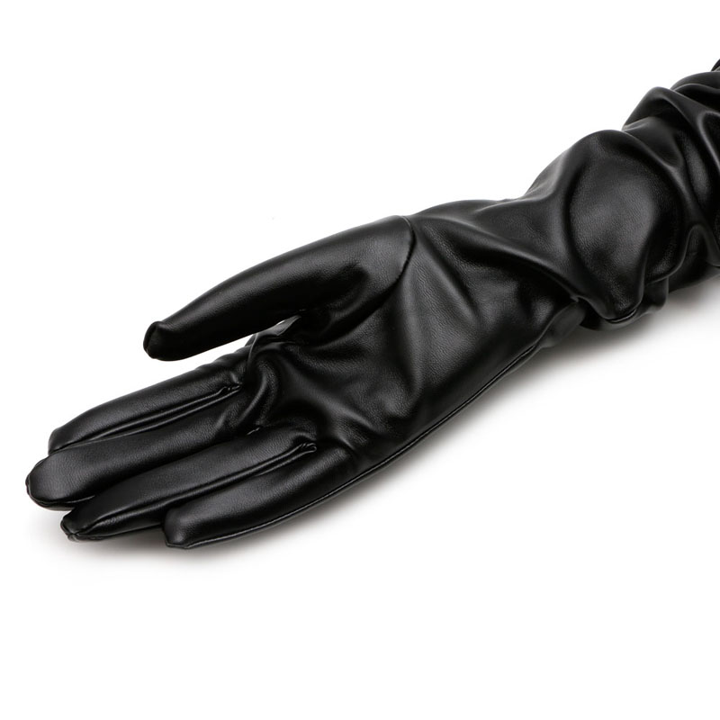 Women Lady Black Leather Long Gloves Winter Warm Fashion Evening Party Costume Full Finger