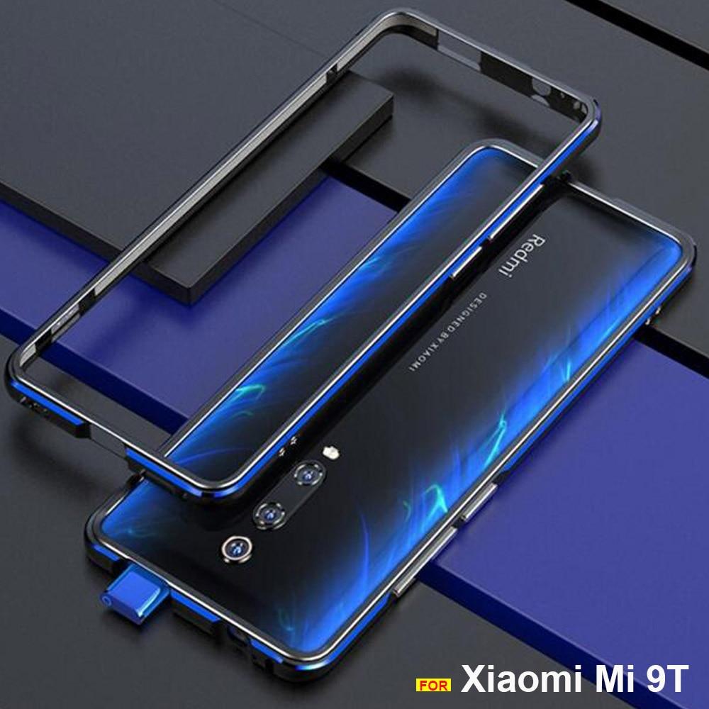 Para Xiao mi mi 9T caso funda Originais Brilhante Luxo Alu num caso no vidro traseiro para Xiao mi mi mi 9T Pro tampa do telefone do Metal do caso do Quadro