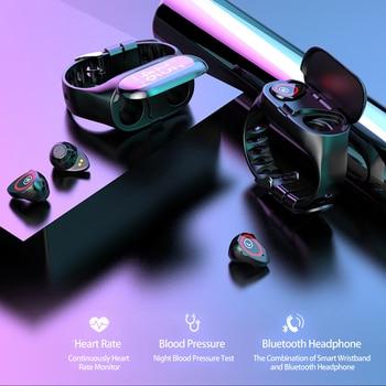 LEMFO M1 Dual Bluetooth 4.2 Earphone Smart Bracelet Heart Rate Blood Pressure Tracker Smart Watch Men For IOS Android Phone