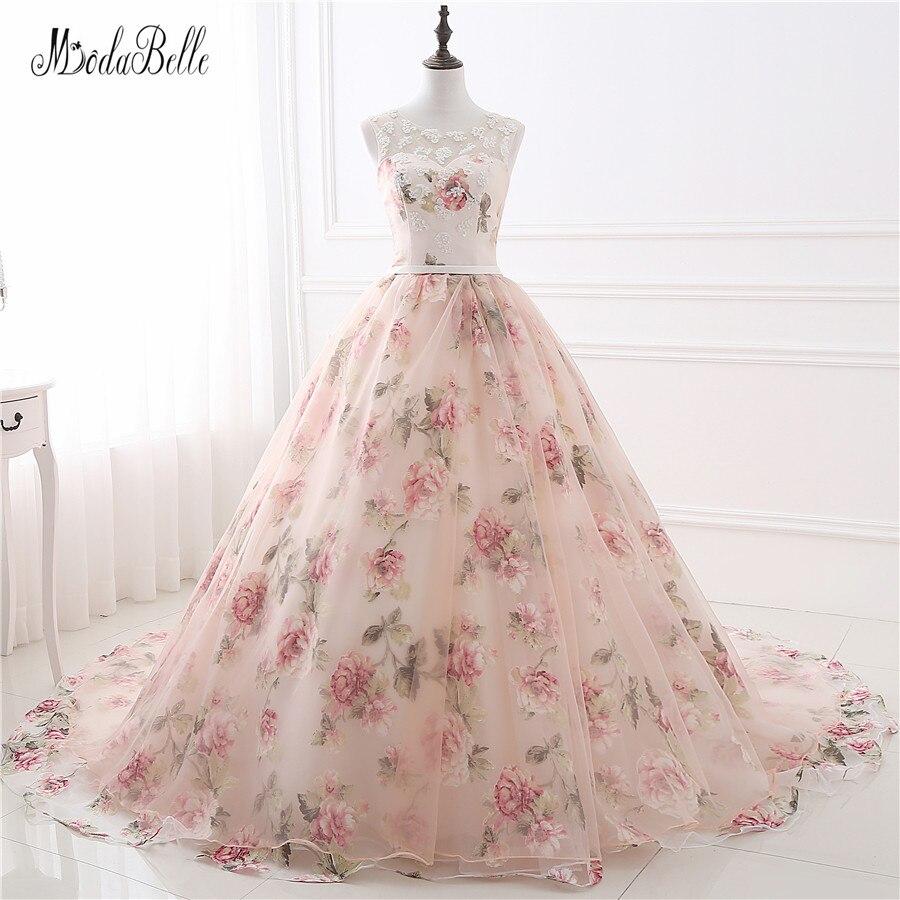 Beautiful Flower Print Floral Wedding Dresses Real Photo Princess