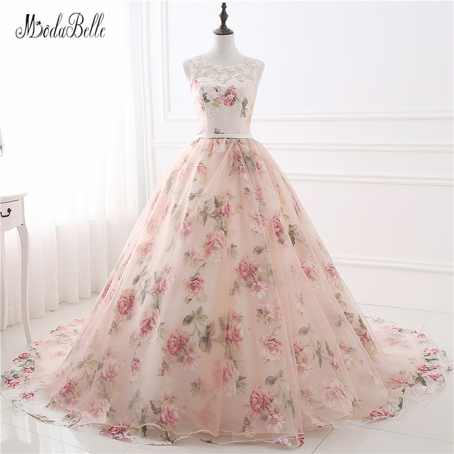 Beautiful flower print floral wedding dresses real photo for Floral print dresses for weddings