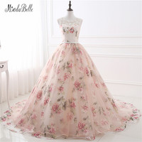 Beautiful Cheap Flower Print Floral Wedding Dresses Real Photo Princess Simple Lace Pink Blush Bridal Ball