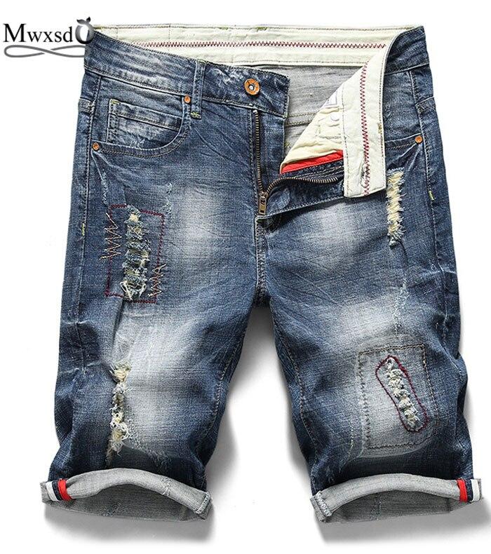 Mwxsd Brand New arrived Casual Mens Cotton Hole denim Shorts Men Summer slim fit Jean Short Pant male rip hole shorts brand
