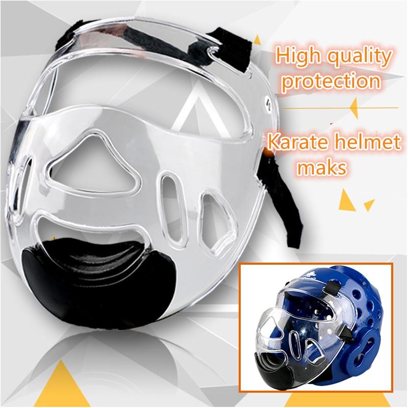 Дешевые каратэ шлем Пластиковые маска съемный шлем тхэквондо Головные уборы маска ТКД фи ...