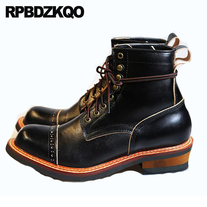 Handmade Real Leather Dress Genuine Fall Plus Size Ankle Designer Shoes Men High Quality Black Booties Full Grain Boots Oxford size 37 49 full grain leather men boots top quality handmade plus size 2017 genuine leather men shoes hecrafted brand ls7511