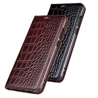 Top Genuine Cow Leather Case For Asus Zenfone Max Pro M1 ZB602KL ZB601KL Case Cover Stand Flip Crocodile Grain Phone Case