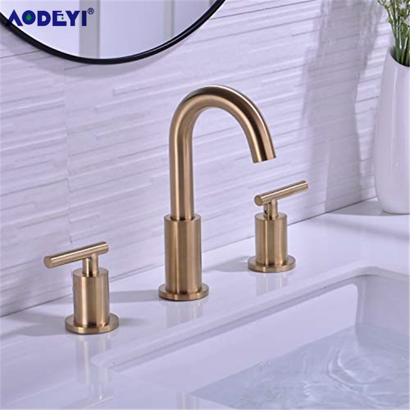 Bathroom Sink Faucet Solid Brass Double Handle Sink Mounted Hot & Cold Mix Basin Faucet European Style Basin Accessories