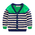 Toddler Boys Sweater Green Stripe V Neck Cardigan For Boy 2016 Spring Autumn Baby Thin Knitwear Kids Casual Knitted Outerwear