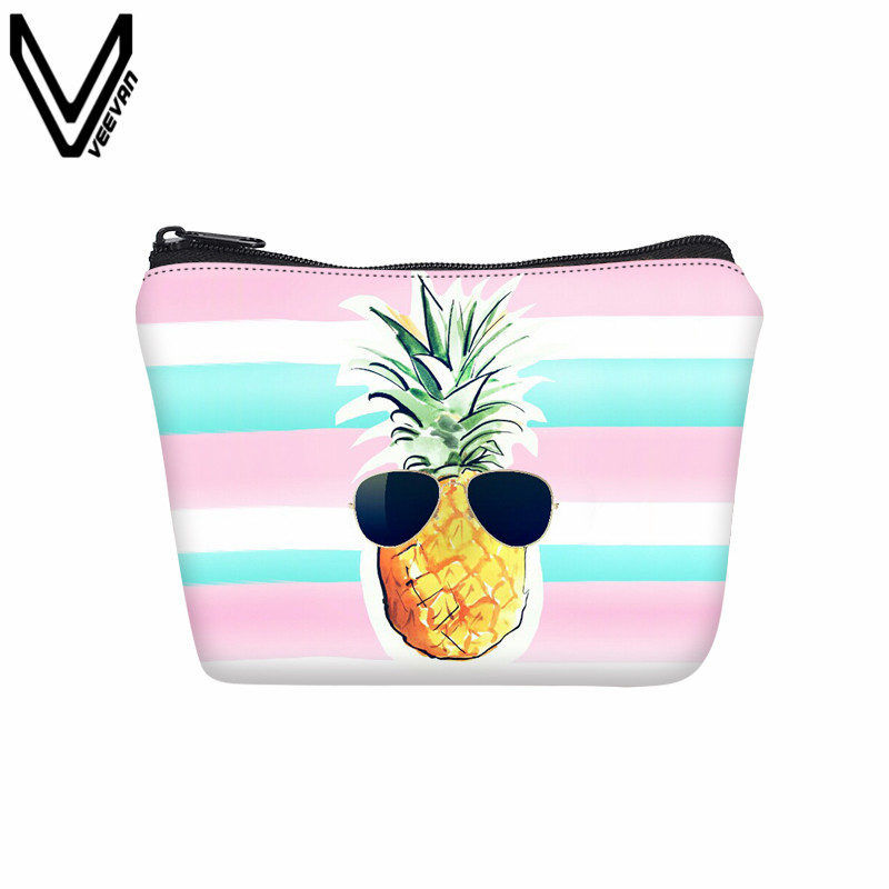 VEEVANV New Design Women Wallet Cute Pineapple Printed Coin Purse Small Change Bag Fashion Key Storage Pouch Girls Canvas Pocket