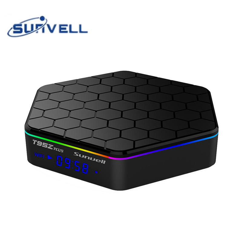 Sunvell T95Z Plus Amlogic S912 CPU Android 7.1 1000M LAN Set-top Box H.265 Decoding 2.4G + 5G Dual Band WiFi Media Player genuine sunvell t95z plus android smart tv box amlogic s912 octa core 4kx2k 2 4g 5g dual band wifi set top box