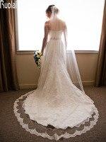Fashion Wedding Veils Long Applique Veil With Lace Edge Bridal Veils Beauty One Layer Long Chapel Wedding Accessories