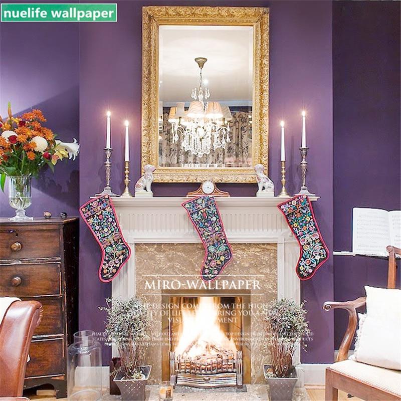 Скандинавские фиолетовые одноцветные нетканые обои для гостиной для одежды в спальне Парикмахерская ТВ диван фон настенная бумага