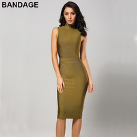 HL 2019 Cheap Lady Party Bodycon Midi Dress Sleeveless Turtleneck Rayon Bandage Dresses Sheath Green Women Elegant Vestidos