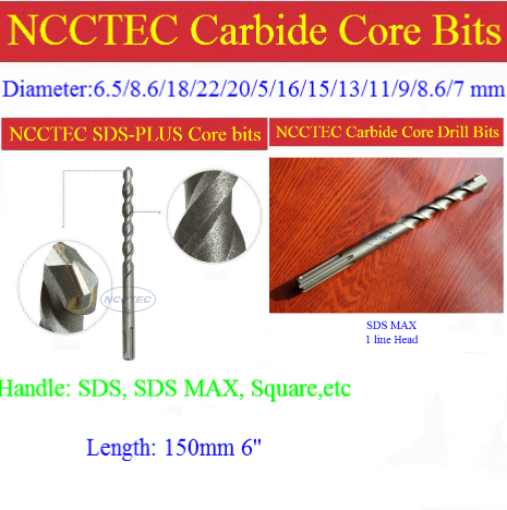 8.6mm diameter 150mm 6'' long NCP866 carbide wall core drill bits for Elevator projects FREE shipping drill tools managing projects made simple