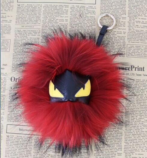 1 pc Moda Preto Carteira de Couro Pele Pom Pom Pele Real Monstro Boneca coruja Charme Chaveiro Carrinho Saco Pulseira Pingente de celular acessórios