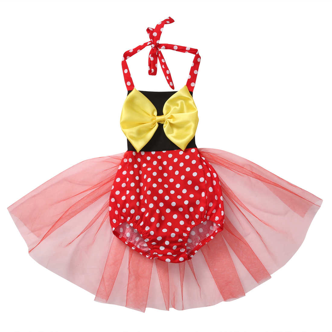 e0f531f3aa8f Big Bow Dot Baby Costumes Lace Romper Dress 1st Birthday Outfits Baby Girl  Jumpsuit Newborn Baby