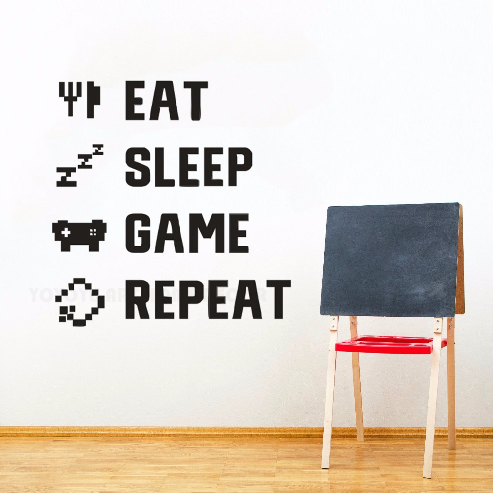 Gamer Quote Eat Sleep Game Repeat Wall Sticker Boys Teen Kids Room Decoration Games Lover Gift Poster Mural W146