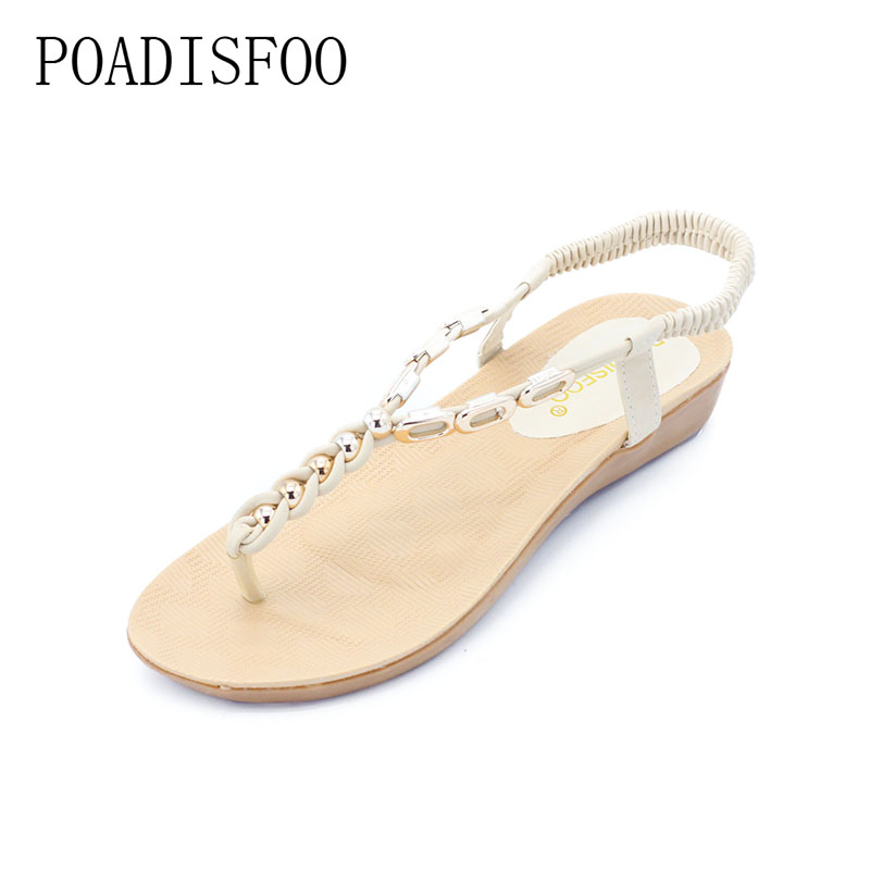 POADISFOO Women 's New Summer Bohemian Beaded Flat Sandals Female Toe Roman Shoes 36-40 Yards .HYKL-8801 poadisfoo new summer women s shoes sandals peep toe square heels solid sandals waterproof women shoes for ladies hykl a772