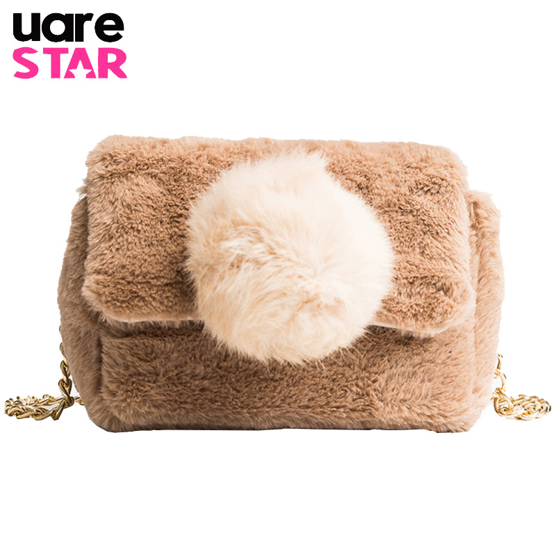b0702ddbc2 Faux fur crossbody bag fashion messenger bag for autumn winter brand design  women shoulder bag-in Top-Handle Bags from Luggage   Bags on Aliexpress.com  ...