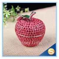 Full Rhinestones Fruit apple Trinket Box Storage Box for Jewelries