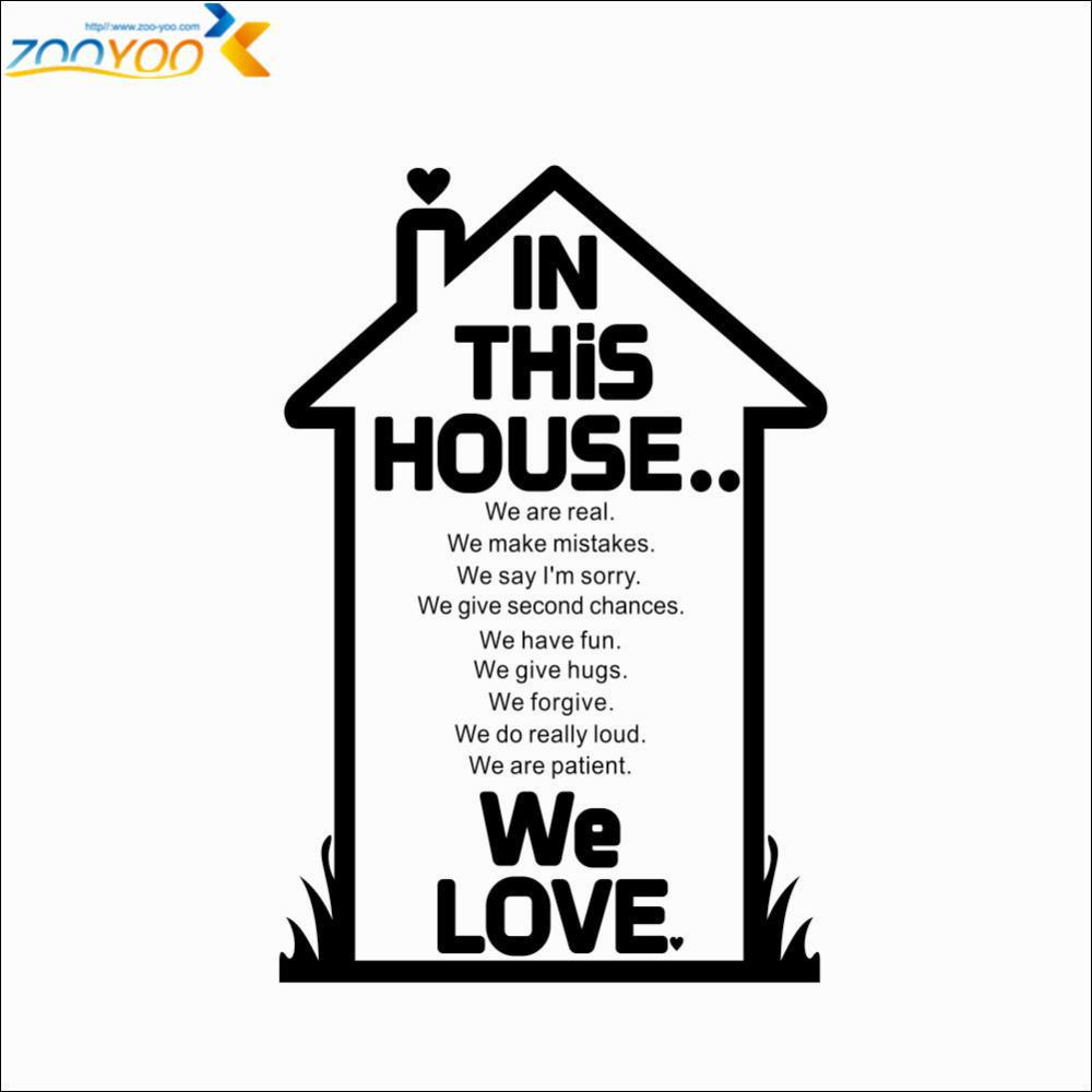US $7 99 |House rules in this house quote wall sticker fashion home  decoration zooyoo8288 diy removable wall decals living room wall decal-in  Wall