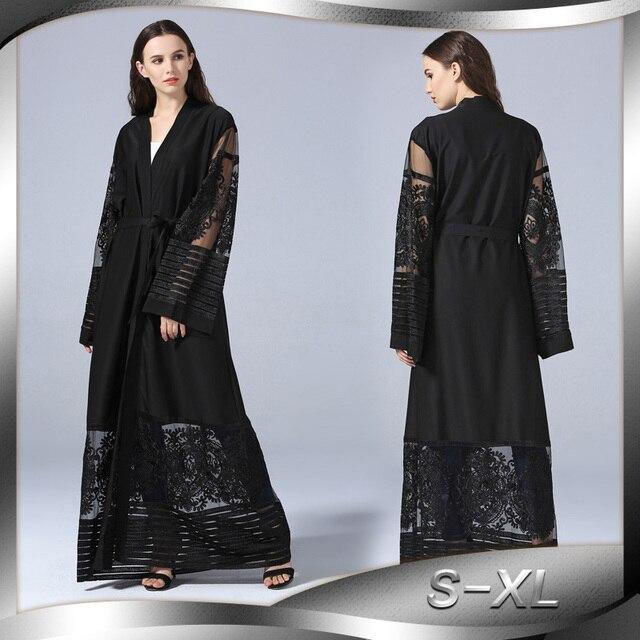 3da688eb4bc1 Elegante Abito Abaya Musulmano Del Merletto Cardigan Casacca Burka Thobe  Abbigliamento Islamico Medio Oriente Lunga Veste