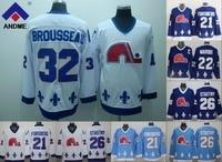 Cable Quebec Nordiques 19 Joe sakic 21 Forsberg 22 Marois 26 stastny 13 sundin 32 Brousseau hockey barato cosido s-3XL