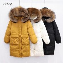 FTLZZ invierno mujeres chaquetas pato blanco abajo Parka encapuchado mapache grande Casual chaqueta nieve caliente femenina prendas de vestir exteriores