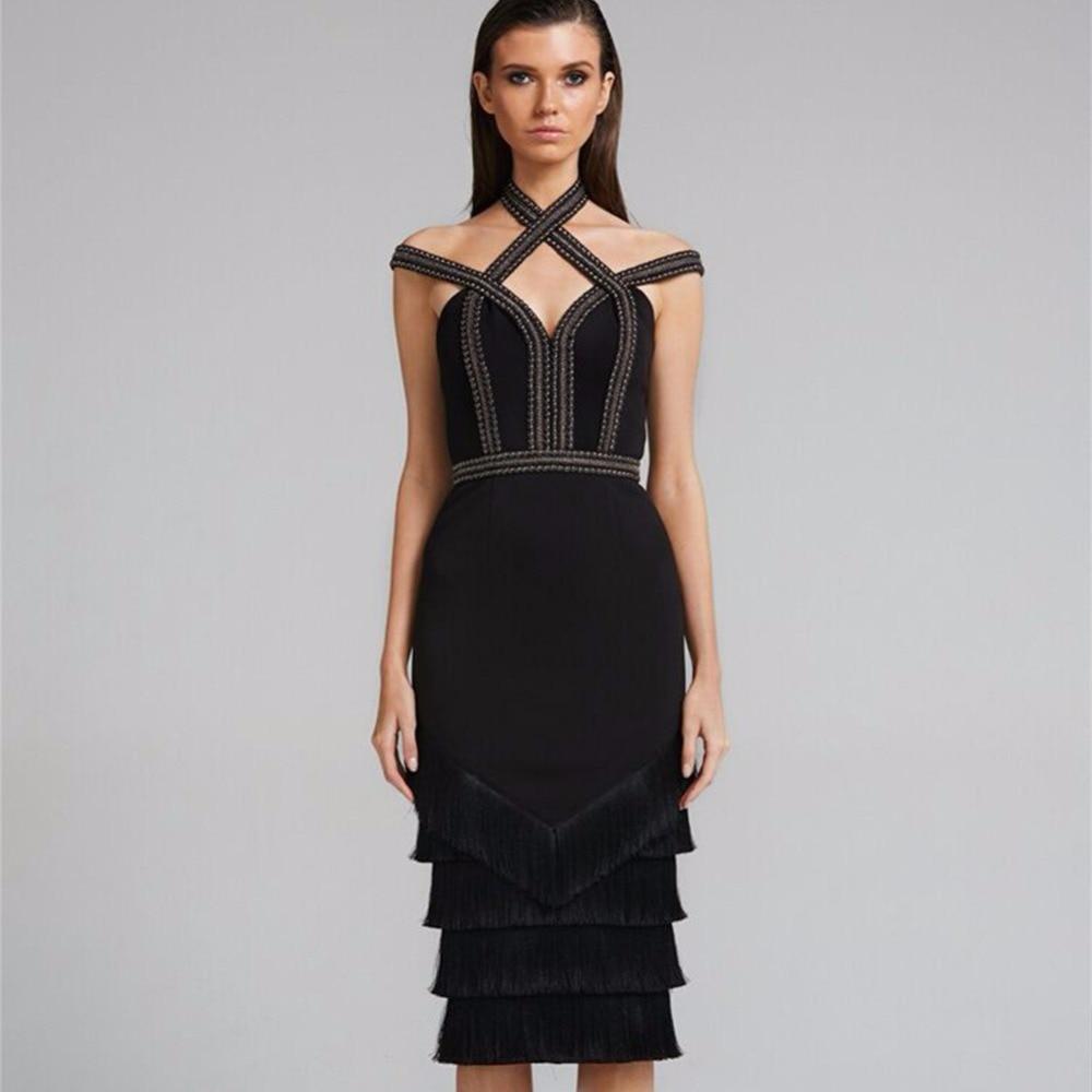 2018 Latest Design Female Black Cold Off Shoulder Cap Sleeve Diamente Embellished Tassel ...