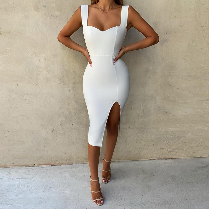 Ocstrade Vestidos Bandage 2019 Summer Runway New Spaghetti Strap Women White Bandage Dress Rayon Sexy Bodycon