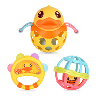 B. duck Baby Soft Rubber Hand Grab Ball Ring 3pcsBD097 0 12 Months Infant Early Education ToyS A Gift For A Newborn