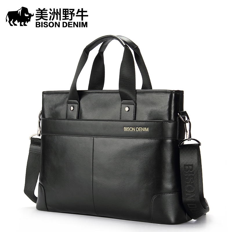 BISON DENIM Brand Genuine Leather Handbag Men Shoulder Bags Business Briefcase Laptop Bag Crossbody Bag Men's Messenger Bag
