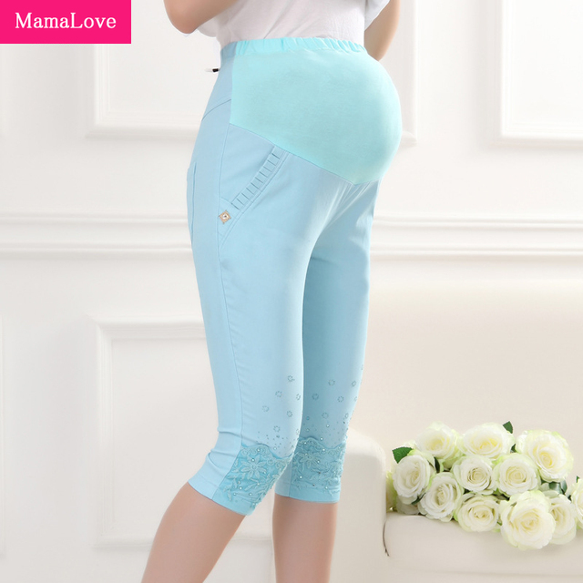 MamaLove Fashion Maternity Pants summer Maternity Trousers High waisted breastfeeding Trousers for pregnant women Capris
