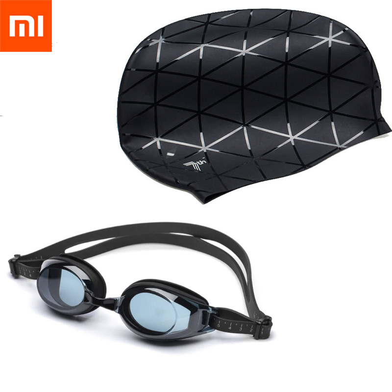 Xiaomi Mijia TS 7th Silicone Swimming Waterproof Goggles 3D Glasses Sports Swim Pool Hat Ears Protection Cap For Adult Men Women