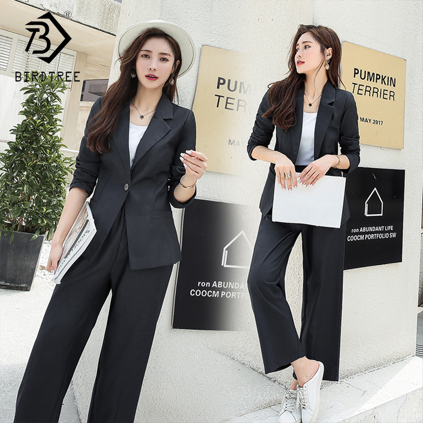 Women's Office Lady Two Pieces Solid Elegant Single Button Turn-down Collar Blazers With Sashes Full Length Trousers S88711Y