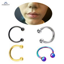 2pcs/lot Cute Ball Nose Ring Goth Earrings Septum Nose Rings Fake Piercing Lip Nose Piercing 16G Nose Clip Jewelry 6/8/10/12mm(China)