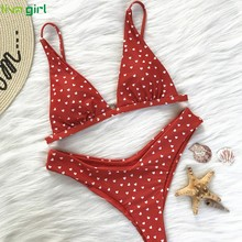 Buy Liva girl Love Printing Bikini Women New Arrival Push-Up Padded Zipper Swimwear Fashion Bandage Suit Beach Swimwear Hot online