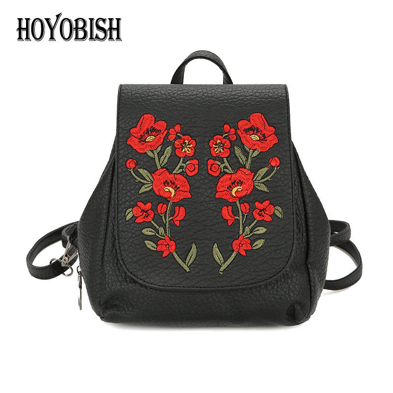 HOYOBISH PU Leather Backpack School Bags For Teenager Girls Embroidery Backpacks Rucksack Shoulder Bags Travel Mochilas